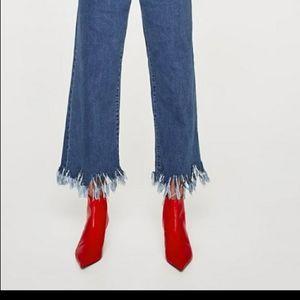 Zara Red Kitten- heel Ankle Boots Size 8 (39)